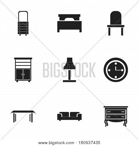 Set Of 9 Editable Furnishings Icons. Includes Symbols Such As Bed, Wall Mirror, Watch And More. Can Be Used For Web, Mobile, UI And Infographic Design.