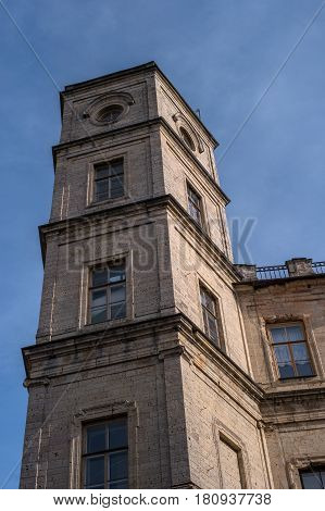 Gatchina Palace. Watch tower. Two watchtowers are on the sides of the main entrance to the palace. Russia.