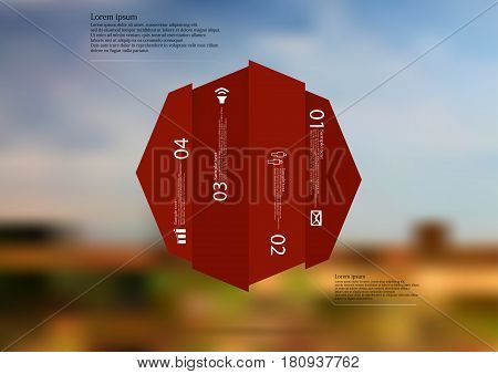 Illustration infographic template with motif of octagon vertically divided to four shifted red sections. Blurred photo with natural motif landscape with cloudy sky is used as background.
