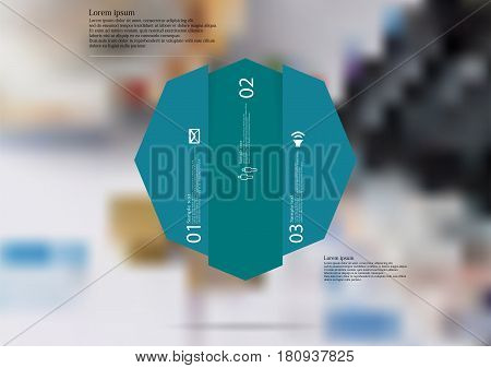 Illustration infographic template with motif of octagon vertically divided to three shifted blue sections. Blurred photo with financial motif with charts coins and calculator is used as background.