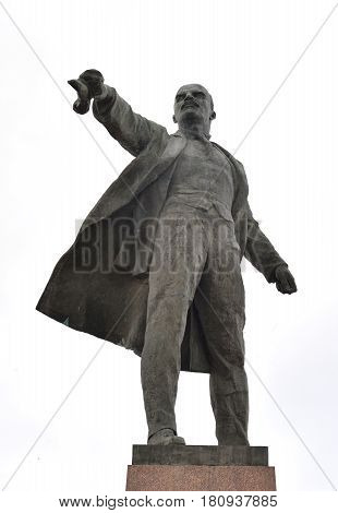 Monument to Lenin on Moscow Square. Vladimir Ilyich Ulyanov the main pseudonym Lenin is a Russian revolutionary a Soviet political and statesman.