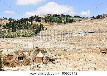 Mount of Olives and Kidron valley scenic landscape Jerusalem.