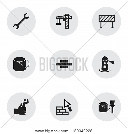 Set Of 9 Editable Building Icons. Includes Symbols Such As Stone, Seamark, Facing And More. Can Be Used For Web, Mobile, UI And Infographic Design.