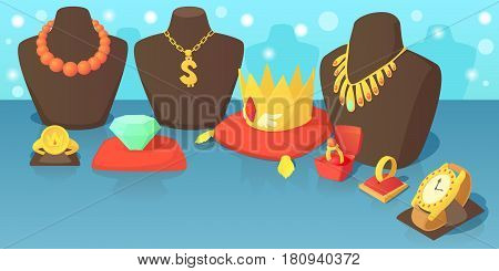 Jewelry horizontal banner concept. Cartoon illustration of jewelry vector horizontal banner for web