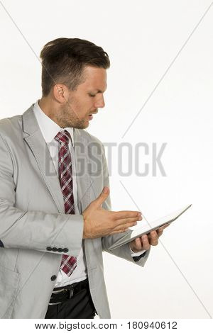 manager with tablet computer