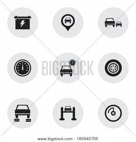 Set Of 9 Editable Vehicle Icons. Includes Symbols Such As Tire, Automobile, Auto Repair And More. Can Be Used For Web, Mobile, UI And Infographic Design.