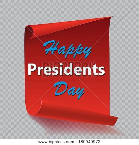 Happy Presidents Day background on red curved paper banner isolated on checkered background. Poster, brochure or flyer template. Vector illustration.