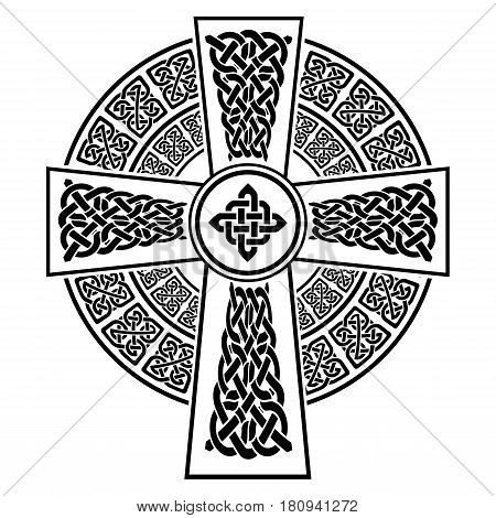 Celtic style Cross with eternity knots patterns in white and black with stroke element surrounded by 2 knotted rings  inspired by Irish St Patrick's Day, and Irish and Scottish carving art
