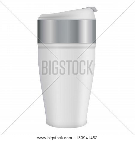White thermos mug mockup. Realistic illustration of white thermos mug vector mockup for web