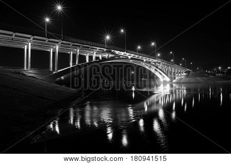 Bridge in Kiev on the island of Truhanov and the Dnieper River