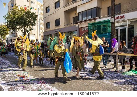 LIMASSOL, CYPRUS - FEBRUARY 26: Unidentified Carnival participants march in Cyprus Carnival Parade, February 26, 2017 in Limassol, Cyprus.