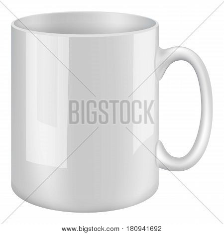 White mug mockup. Realistic illustration of white mug vector mockup for web