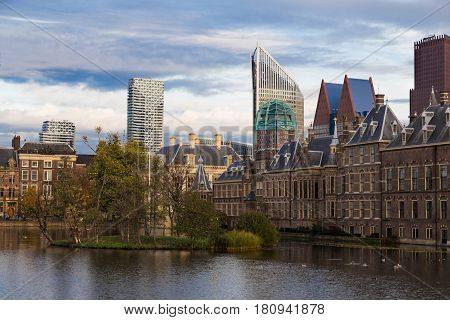 City Hague ( Den Haag ). Building of the Parliament against the background of skyscrapers. History and modernity