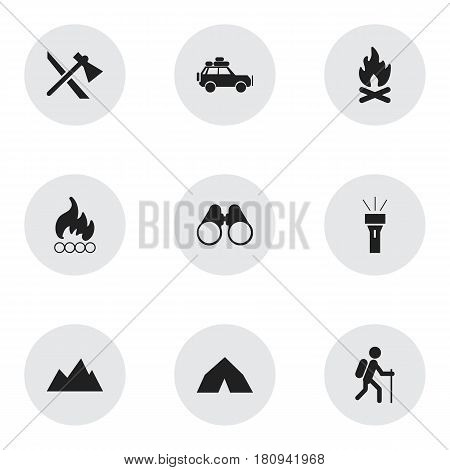 Set Of 9 Editable Camping Icons. Includes Symbols Such As Voyage Car, Tepee, Blaze And More. Can Be Used For Web, Mobile, UI And Infographic Design.