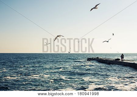 Picturesque panorama of the Black Sea in the city of Odessa