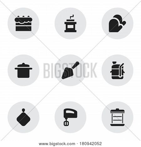 Set Of 9 Editable Cooking Icons. Includes Symbols Such As Agitator, Kitchen Glove, Squeezer And More. Can Be Used For Web, Mobile, UI And Infographic Design.