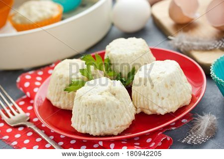 Steamed chicken souffle dietary cutlets for dinner