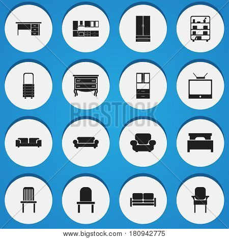 Set Of 16 Editable Furniture Icons. Includes Symbols Such As Seat, Wall Mirror, Sofa And More. Can Be Used For Web, Mobile, UI And Infographic Design.