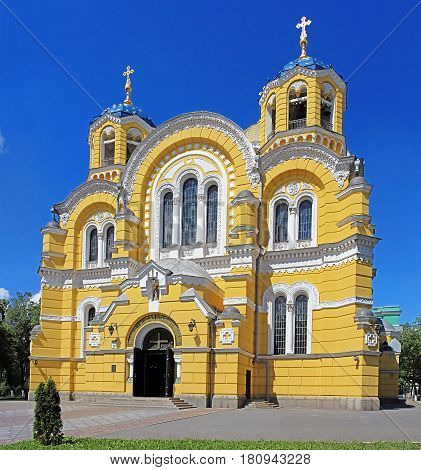 Big Vladimir Cathedral in Kyiv, Ukraine in the spring