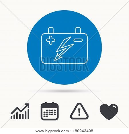 Accumulator icon. Electrical battery sign. Calendar, attention sign and growth chart. Button with web icon. Vector