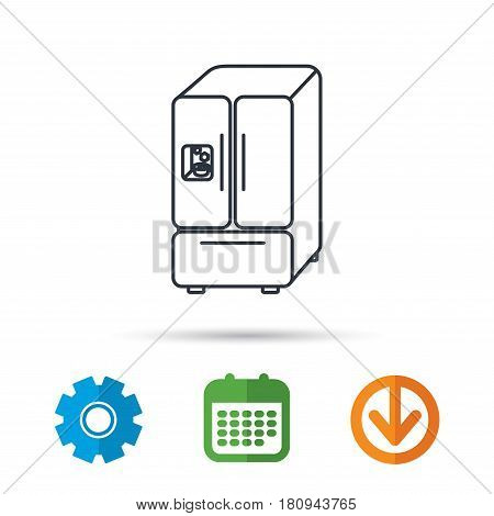 American fridge icon. Refrigerator with ice sign. Calendar, cogwheel and download arrow signs. Colored flat web icons. Vector