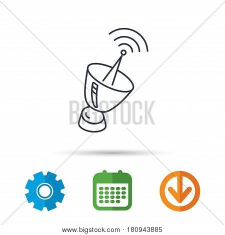 Antenna icon. Sputnik satellite sign. Radio signal symbol. Calendar, cogwheel and download arrow signs. Colored flat web icons. Vector