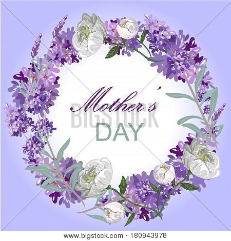 Lavender and peony floral card template Mother day celebration stock vector