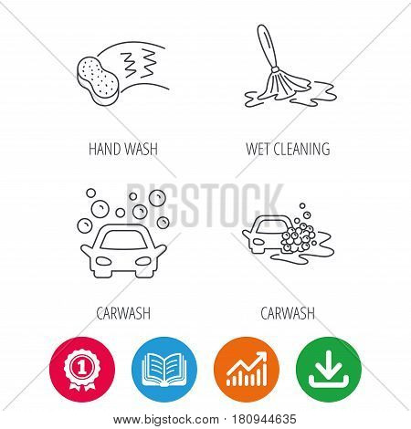 Car wash icons. Automatic cleaning station linear signs. Hand wash, sponge flat line icons. Award medal, growth chart and opened book web icons. Download arrow. Vector
