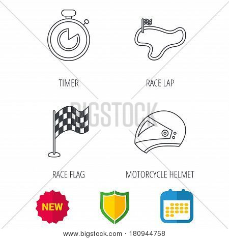 Race flag, timer and motorcycle helmet icons. Race lap linear sign. Shield protection, calendar and new tag web icons. Vector
