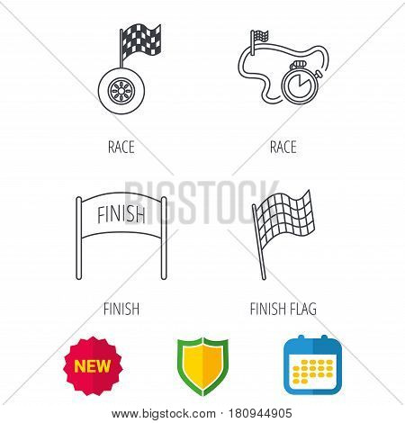 Finish flag, race timer and wheel icons. Race track linear sign. Shield protection, calendar and new tag web icons. Vector