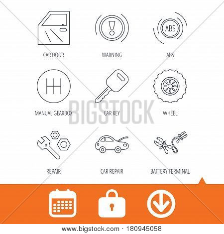 Car key, repair tools and manual gearbox icons. Wheel, warning ABS and battery terminal linear signs. Download arrow, locker and calendar web icons. Vector