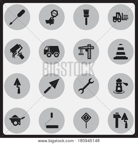 Set Of 16 Editable Construction Icons. Includes Symbols Such As Trowel, Mop, Seamark And More. Can Be Used For Web, Mobile, UI And Infographic Design.