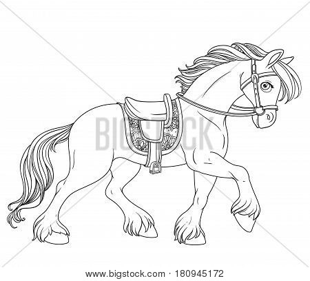 Cartoon Horse Harnessed In Harness Runs Forward Outlined Isolated On A White Background