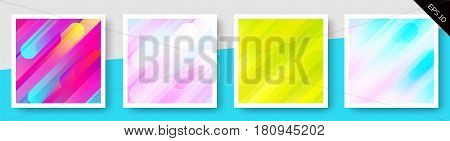 Set of Expressive Vector Colorful Backgrounds. Spring Colors. Trendy Rounded Elements. Template for Invitation Online Store Web Banner Pop-Up Website Flyer Brochure Voucher Discount.