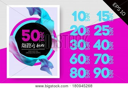 Elegant Vector Sale Template with Flying Silk on Lilac Background and Circles. Advertising Layout For Cloth Shop Online Store Web Banner Pop-Up Poster Flyer.