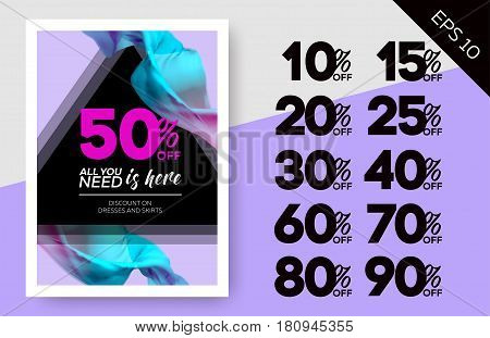 Bright Vector Sale Template with Flying Silk on Lilac Background and Black Triangles. Advertising Layout For Cloth Shop Online Store Web Banner Pop-Up Poster Flyer.