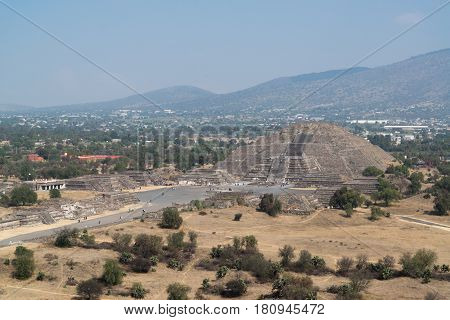 View on the pyramid of the moon in Archeological site Teotihuacan, Mexico