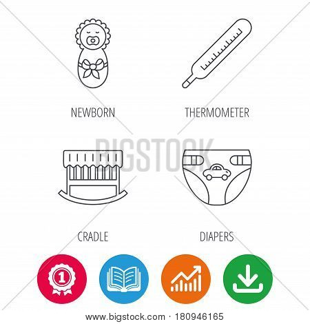 Newborn, diapers and thermometer icons. Cradle bed linear sign. Award medal, growth chart and opened book web icons. Download arrow. Vector