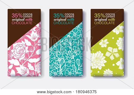 Vector Set Of Chocolate Bar Package Designs With Modern Floral Patterns. Editable Packaging Template Collection. Packaging and Surface pattern design.
