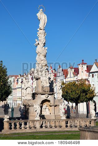 Wiew of Plague Column on the main square of Telc or Teltsch town