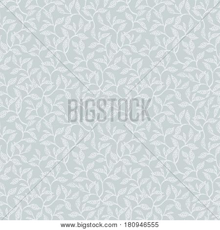 Vector Silver Grey Leaves and Branches Seamless Pattern Texture. Great for backgrounds, wallpaper, fabric, wedding invitations. Surface pattern design.