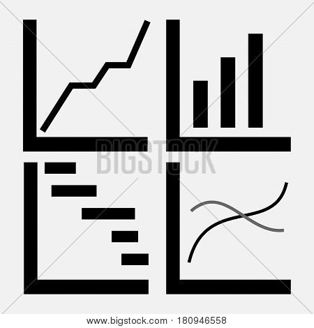 set of icons of trade, stock market, analysis of the motion of profit, graphics trade diagram characters btznes design, fully editable vector image