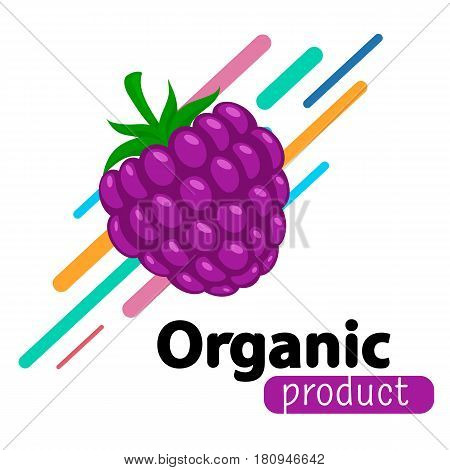 Organic product sale template. Vector berry and text.