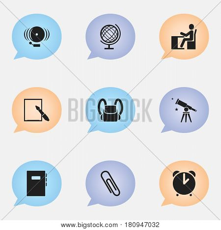 Set Of 9 Editable Science Icons. Includes Symbols Such As Workbook, Staple, Ring And More. Can Be Used For Web, Mobile, UI And Infographic Design.
