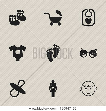 Set Of 9 Editable Infant Icons. Includes Symbols Such As Merry Children, Stroller, Small Dresses And More. Can Be Used For Web, Mobile, UI And Infographic Design.