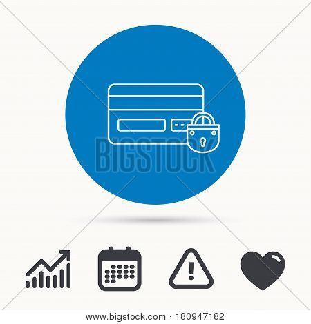 Blocked credit card icon. Shopping sign. Calendar, attention sign and growth chart. Button with web icon. Vector