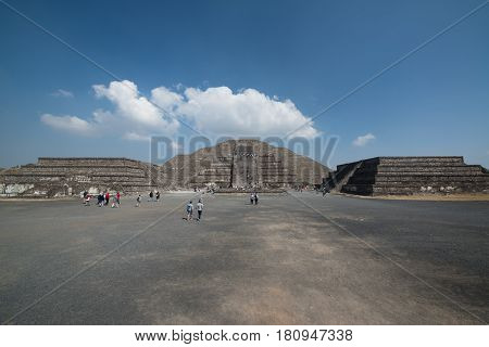 Teotihuacan, Mexico, circa february 2017: View on the pyramid of the moon in Archeological site Teotihuacan, Mexico