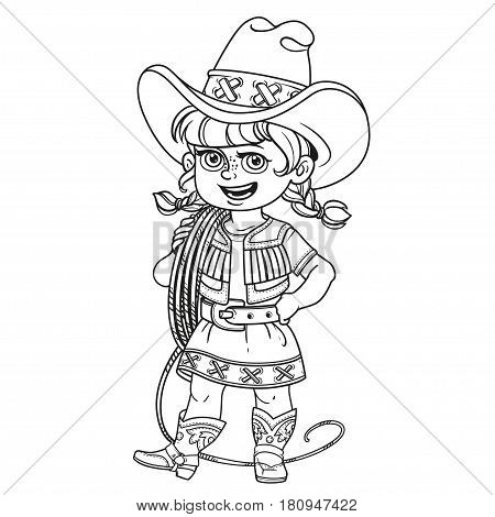 Cute Girl In A Cowboy Suit Is Holding A Lasso On Her Shoulder Outlined Isolated On A White Backgroun