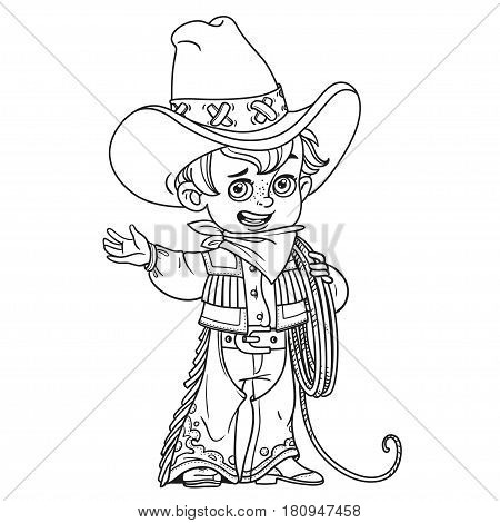 Cute Little Boy Holds The Lasso And Points To The Side Outlined Isolated On A White Background