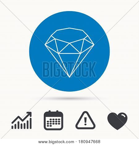 Brilliant icon. Diamond gemstone sign. Calendar, attention sign and growth chart. Button with web icon. Vector